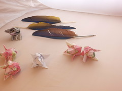 origami napkins, tulips on a white background