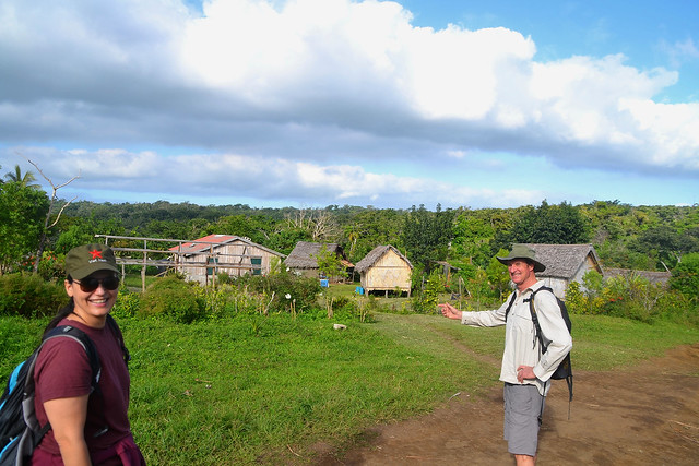 travellers enjoying a Trek through the tropical bush on Tanna as a part of the alterntive tourism that has community based tourism as its base and supports the local Ni-Vanuatu people directly