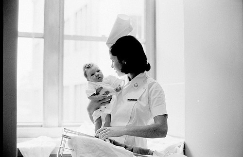 Hospital activities, including nurses caring for patients, baby care