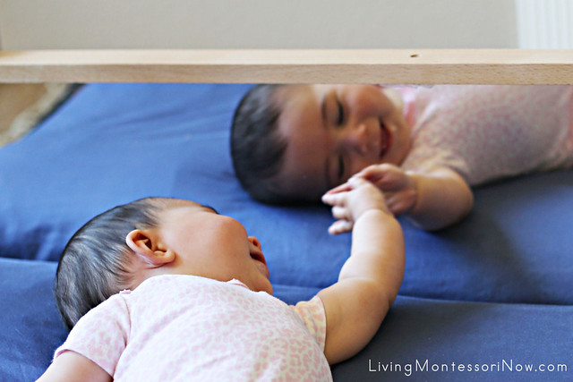 The Horizontal Baby Mirror - an Important Part of Our Montessori Baby Space