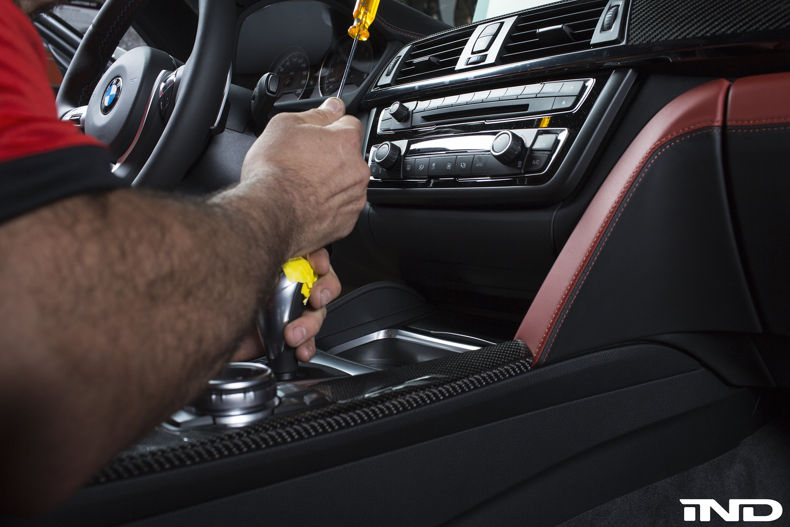 The bmw performance cover comes with a new torx 8 screw but you can also utilize the old screw after the set screw is reinstalled apply the new shift