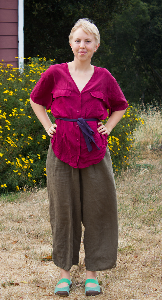 magenta plum silk blouse, purple ribbon belt, brown linen wide-leg trousers