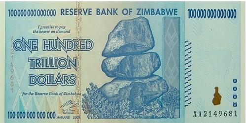 Zimbabwe 100 trillion dollars
