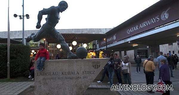 Footballer statue