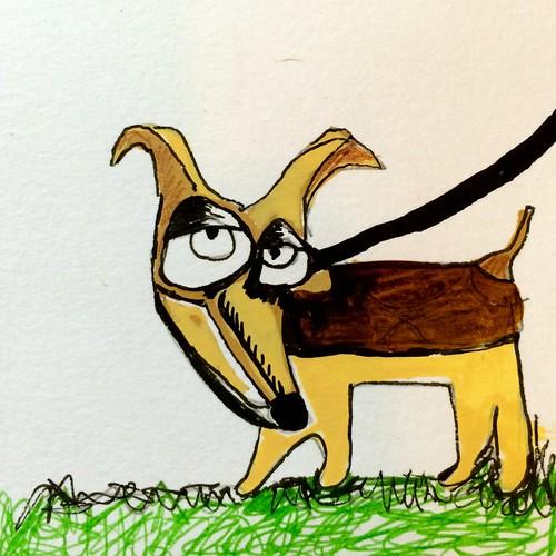 How to walk a dog.  (sketch 1)