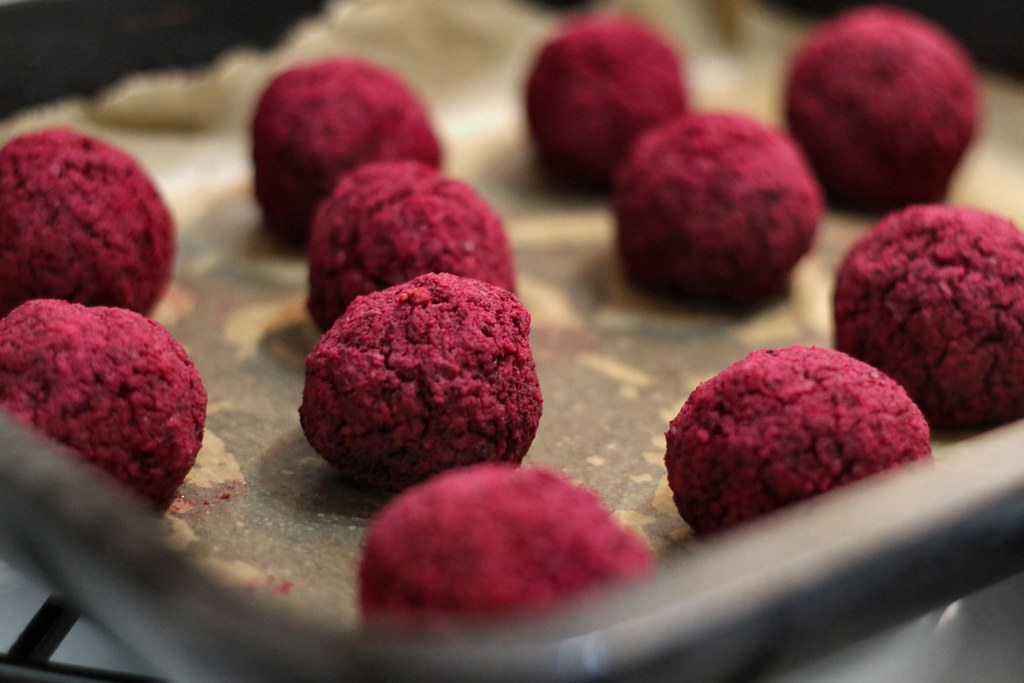 Beetroot falafel on baking tray