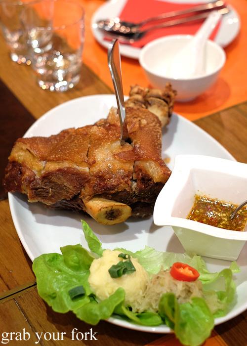 Ka Moo Tod deep fried pork knuckle at Tawandang Thai-German restaurant, Sydney