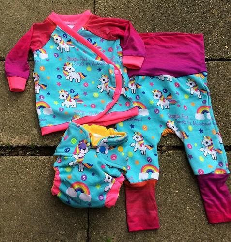 Bumstoppers BumSpot Pants 0-6 months 0-3  Kimono Skittle Fart