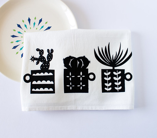 retro succulent tea towel by vitamini