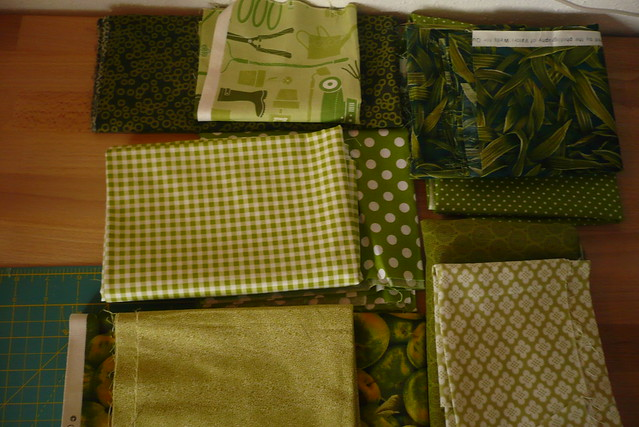 all green fabric selection