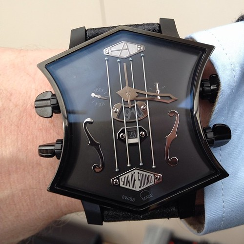 """If you like unusual watches, this """"Son of Sound Chronograph"""" in black PVD steel will certainly appeal to your musician side!  Shaped like a guitar head, this 42 mm watch by @artyawatches  looks great on the wrist.  Go to www.watch-agora.com for more amazi"""