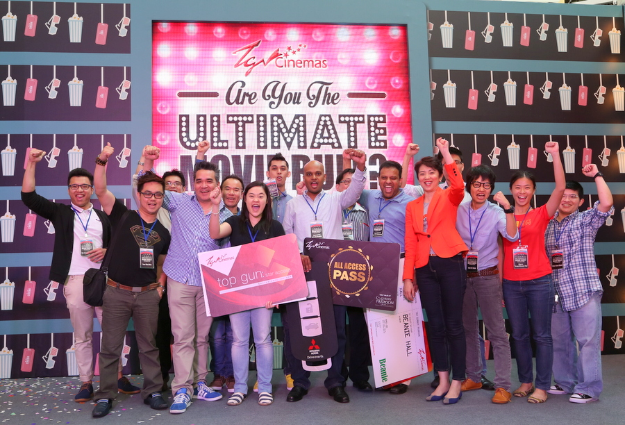 CEO ,TGV Cinemas Gerald V Dibbayawan (2nd from left) , Executive Director , Hunza Properties Ms Lily Tan (right) and Ulitimate Movie Buff contestants