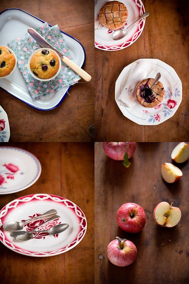 Di pie ai mirtilli, muffins e mele
