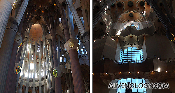 The majestic, interior ceilings and supporting pillars