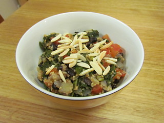 Almond Bulgur with Black Beans, Tomatoes, and Kale