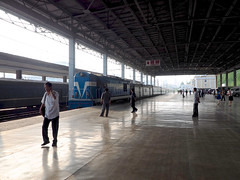 The arrival of the train from Beijing at Pyongyang