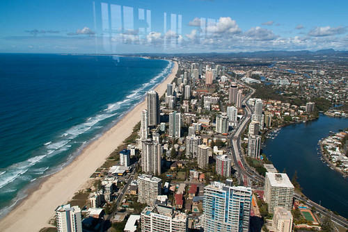 houses sea sky water architecture clouds skyscraper buildings reflections australia canals hills queensland coastline surfersparadise goldcoast q1 hinterland skypoint qdeck 230metresabovethesurfersparadise abbreviationofqueenslandnumberone