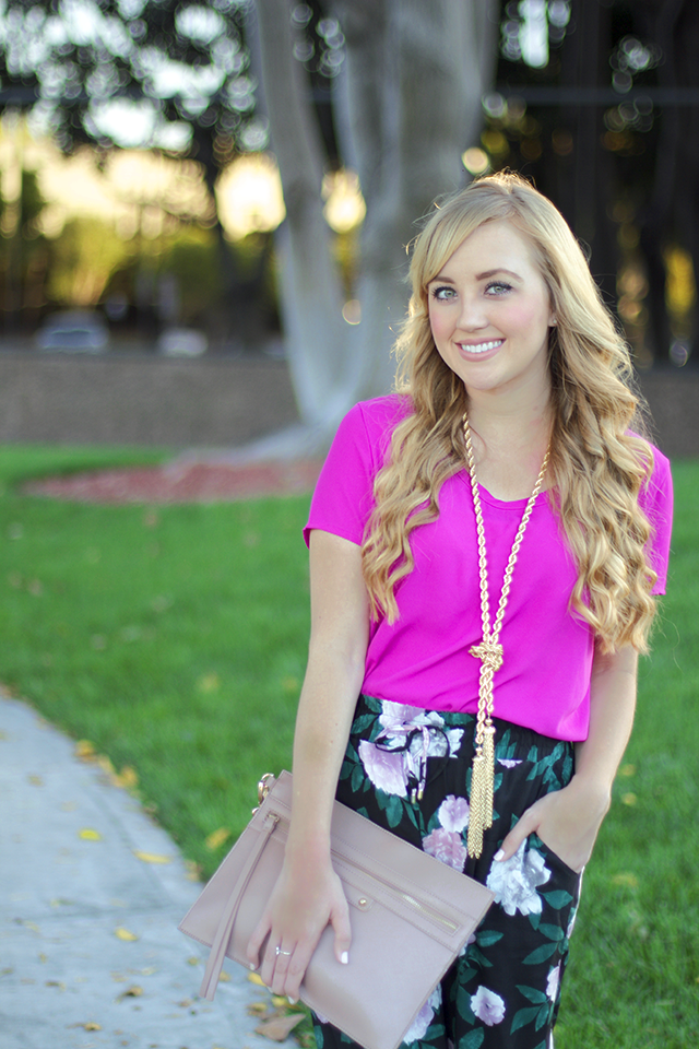 hot pink t-shirt blouse