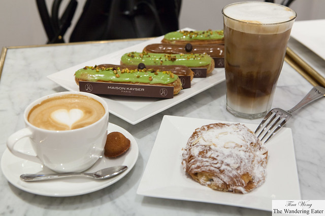 Pain au chocolat aux amandes (Chocolate Almond Croissant), Coffee & Pistachio Eclairs, Cappuccino & Iced Capuccino