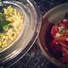 Herby corn salad and Greek tomato salad to be served with Baked flounder with panko and parmesan.
