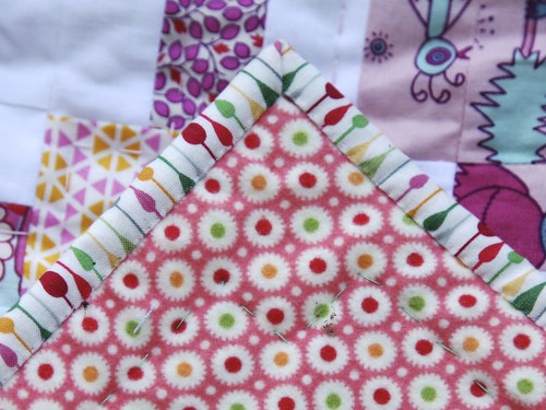 Scrappy Cross Baby Quilt - binding and backing