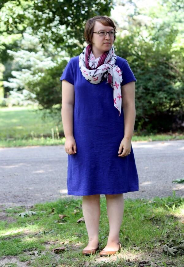 indigo shirt dress, anchor scarf, brown flats