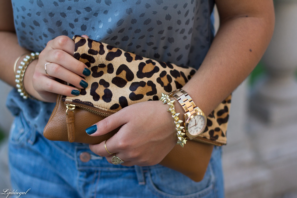boyfriend denim shorts, silk top, leopard clutch-5.jpg