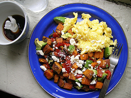 scrambled eggs with avocado sweet potato hash, water, coffee