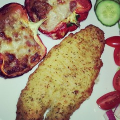 Tempura #Basa fillet with #StuffedPeppers #NomNom.…