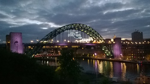 Tyne Bridge getting ready for The Great North Run 2014
