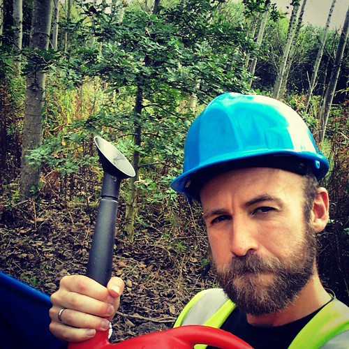 Just a man on his own in the woods with nothing but a hard hat, a watering can and an overwhelming sense of badassery.