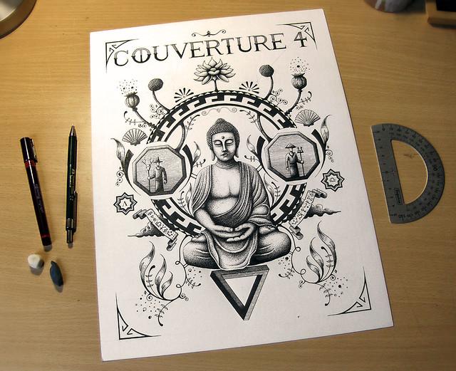 Bouddha - Dessin en cours de création - étape 4