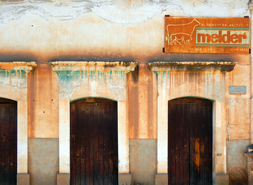 A coloured wall and doors in Mascota, a 'Pueblo Magico' on the Sierra Madres Occidental on the Pacific coast of Mexico