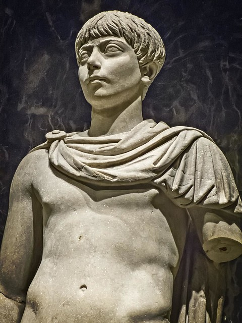 Closeup of Portrait of a Roman Youth with attributes of Apollo Italy Mid-2nd century CE Marble