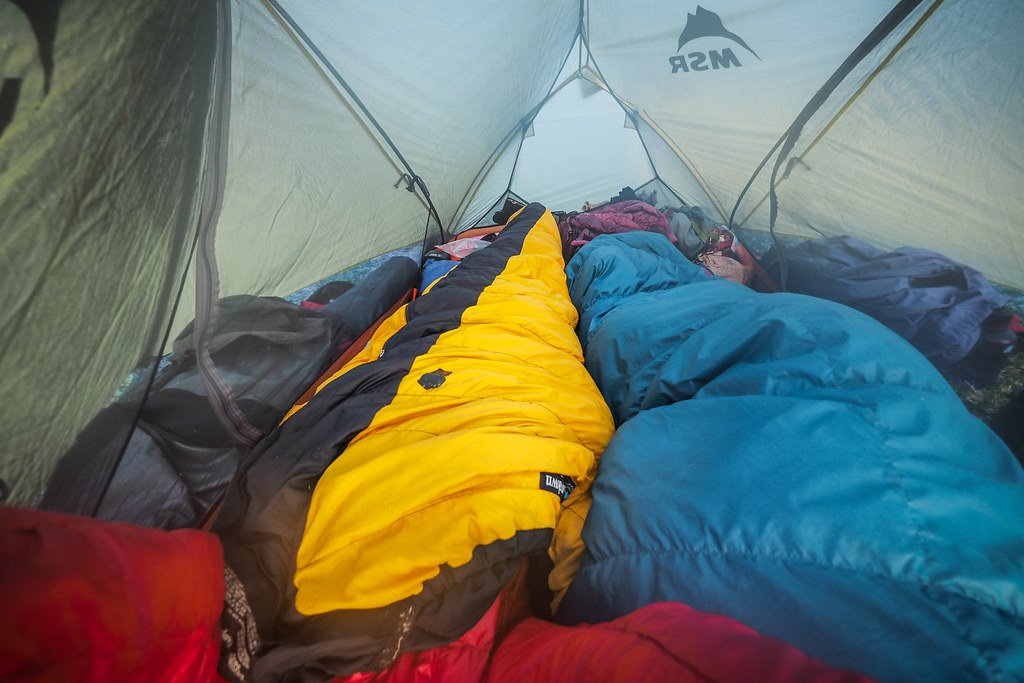 Sleeping in a tent at the Abira Campground in Abira, Hokkaido, Japan