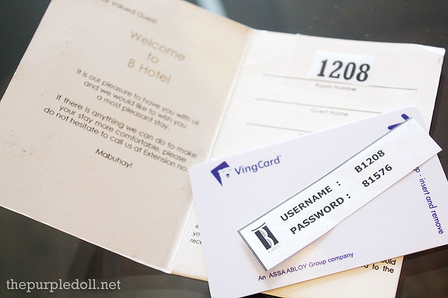 B Hotel Keycard and Wi-Fi Login Details
