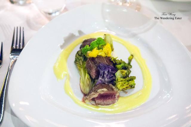 Wild Boar Tenderloin with cauliflower, braised baby romaine lettuce, ginger béarnaise