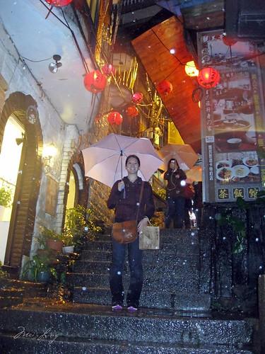 Mei on the steps in Jiufen