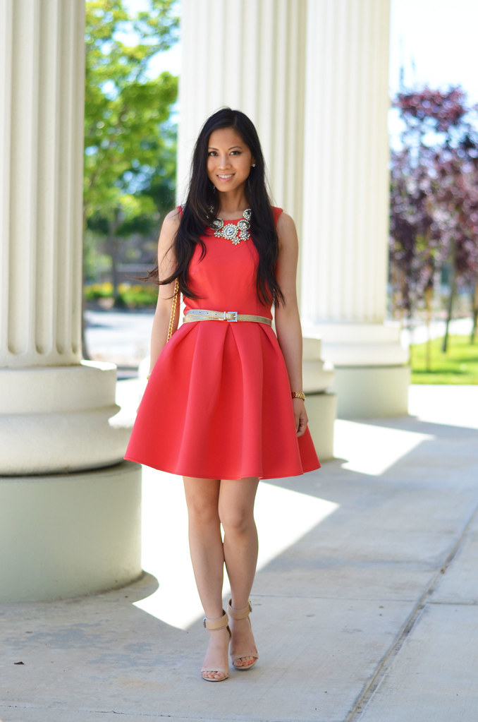 ASOS pink neoprene flare skater dress - spring wedding outfit look