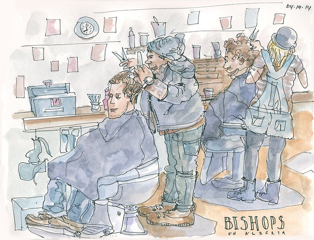 Watching Haircuts in Progress at Bishops Barbershop on Alberta
