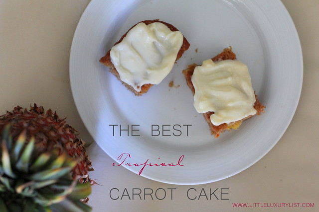Carrot pineapple cake top with pineapple and frosting by little luxury list