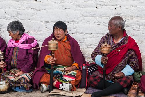 Chanting prayers at Jambay Lakhang