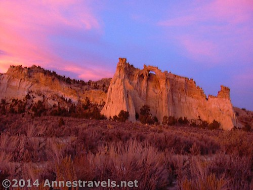 Grosvenor Arch during a particularly spectacular sunset, Grand Staircase-Escalante National Monument, Utah.
