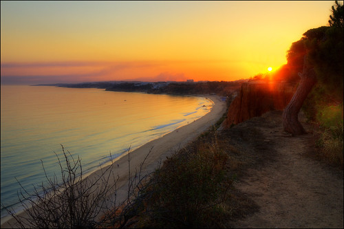 travel sunset sea vacation sun holiday beach portugal colors landscape view cliffs algarve canoneos hdr