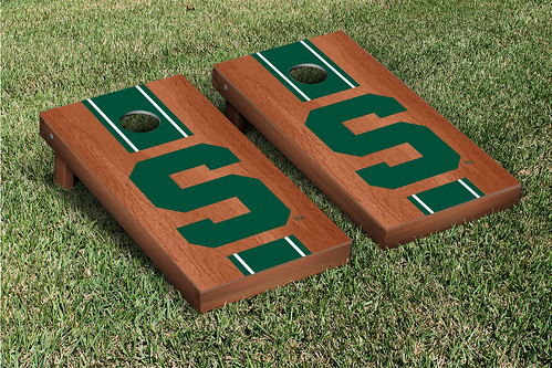 Michigan State Spartans Cornhole Game Set Rosewood Stained Stripe S