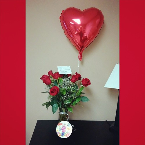 Awww! Don sent me a dozen #beautiful #redroses and some #FerreroRocher #truffles to my work for our a #anniversary! Thank you baby! #Iloveyou