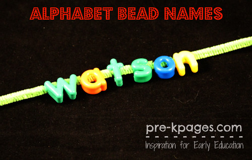 Alphabet Bead Names (Photo from Pre-K Pages)