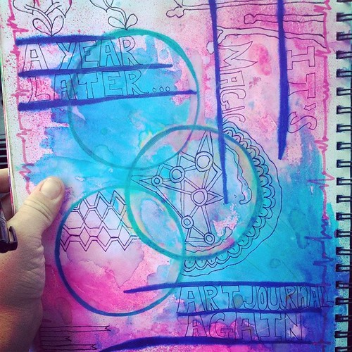 #sadoodleaday day 6 - print - I started this #artjournal spread almost a year ago while I was on maternity leave with my daughter.  Since coming back to work I havent been art journaling at all!  This month has me playing in my journal again and it really