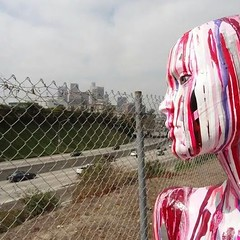 Avatars in the city #dtla #losangeles #breweryartwalk #whereartlives #breweryartlofts #artist #contemporaryart #abstract #nonrepresentational #gesture #abstractexpression #avatar #acomfortableskin #sculpture #mixedreality #digital