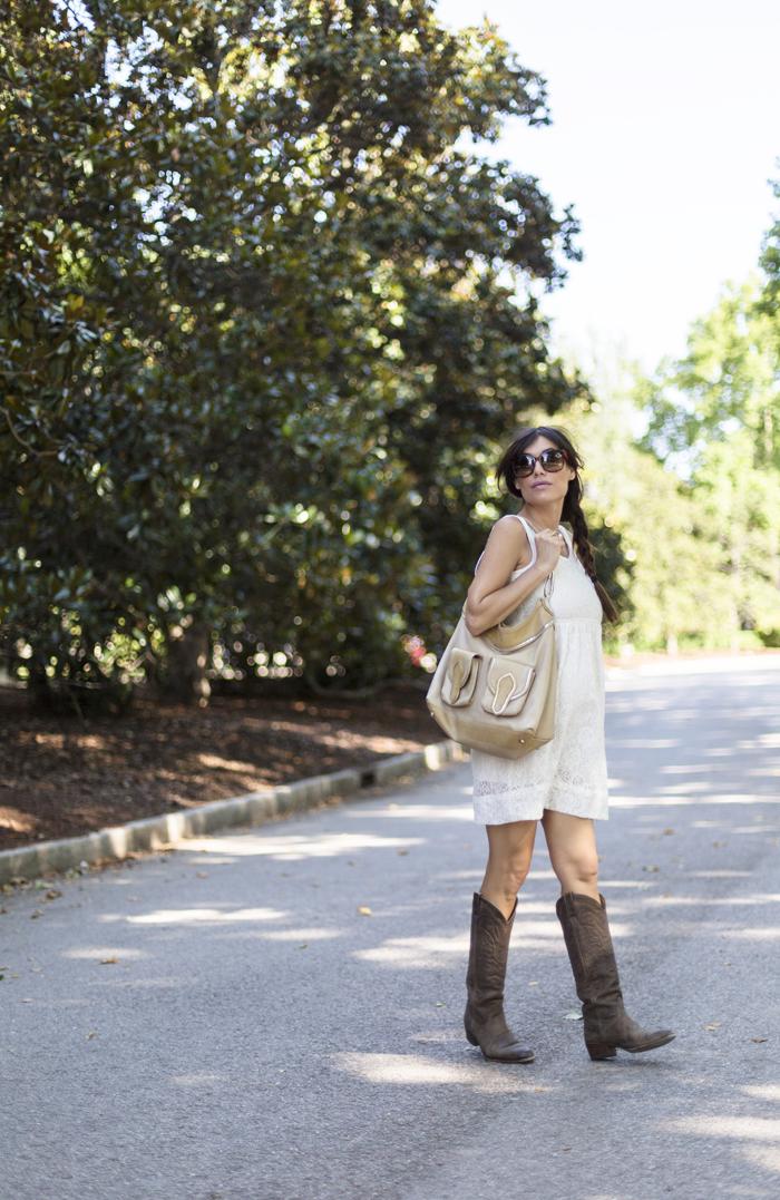 street style barbara crespo cowboy sendra boots sheinside dress fashion blogger outfit blog de moda